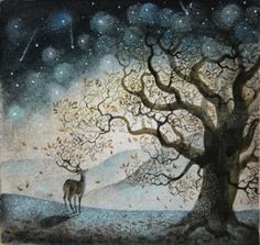 Starfall Ink, pastel and watercolour, by Flora Mclachlan