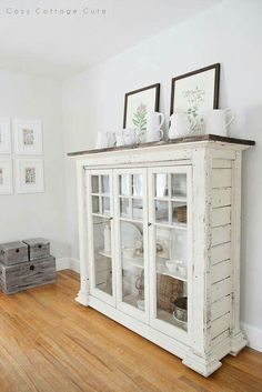 White Dishes on the Dining Room Cabinet (Cozy.) - Every time I go to Homesense I beeline it to the section that houses the plain, white dishes. Decor, Furniture, Dining Room Cabinet, Interior, Redo Furniture, Farmhouse Decor, Rustic Furniture, Home Decor, Shabby Chic Furniture
