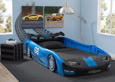 Delta Children Turbo Race Car Twin Bed, Blue, Room View a1a