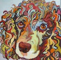 Contemporary dog portrait painting, Ruby, painting by artist Carolee Clark