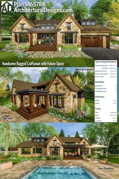 Handsome Rugged Craftsman with Future Space 14657RK has a modern take on the craftsman exterior and gives you over 2,300 square feet of heated living space, including a full suite option for a second floor that gives you 3 beds if you build that out. Ready when you are. Where do YOU want to build?