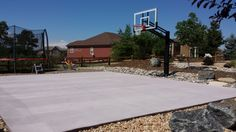 Plain and simple: the backyard is ready for hoop action. In-ground basketball systems from Pro Dunk are worthwhile buy. Sturdy, safe and survives through storms (no take down, put back up - over and over).