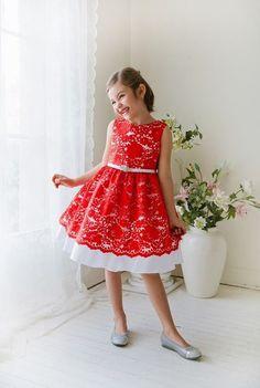 374c340e8087 Red Flower Girl Dresses, Girls Lace Dress, Flower Girl Tutu, Lace Flower  Girls