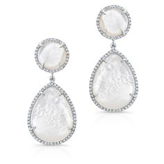 Anne Sisteron  14KT White Gold Mother Of Pearl Cloud Earrings (56 960 UAH) ❤ liked on Polyvore featuring jewelry, earrings, white, earring jewelry, white gold drop earrings, mother of pearl earrings, mother of pearl drop earrings and white gold jewelry