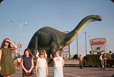 Tourists outside Sinclair Petroleum's Dinoland, 1964 New York World's Fair.
