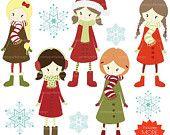 40% OFF winter christmas girls clipart, commercial use, vector graphics, digital clip art, digital images -  PGCLPK443