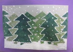 Talvinen kuusimetsä, vesiväri+vahaliitu+sormiväri Winter Jokes, Winter Christmas, Christmas Tree, Christmas Art Projects, Tapas, 4th Grade Art, Winter Art, Art Classroom, Art Club