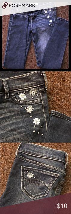 ✨ABERCROMBIE JEANS FOR GIRLS✨ SKINNY, LOW WAIST, CUTE LITTLE FLOWER EMBELLISHMENT DETAILS ON POCKETS  abercrombie kids Bottoms Jeans