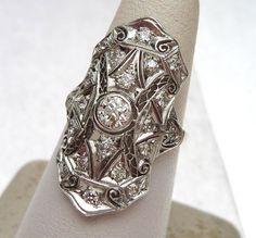 Platinum Antique Diamond Dinner Ring