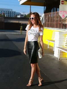 Holy Chic tee. pencil skirt, and leopard heels