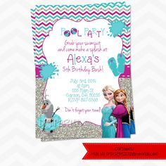 Frozen POOL PARTY invitations by dpdesigns2012 on Etsy, $10.00