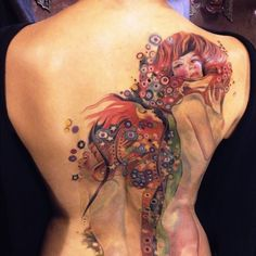 gustav klimt women tattoos design on back