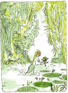 "Quentin Blake ~ ""Ribbit"" means goodbye Art And Illustration, Watercolor Illustration, Drawing For Kids, Painting For Kids, Landscape Drawings, Art Drawings, Quentin Blake Illustrations, Beauty Art, Artist Art"