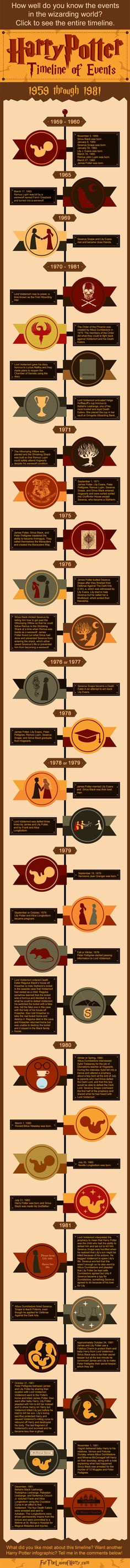 This Harry Potter infographic details events that happened in the wizarding world from 1959 (the birth of characters) to 1981 (baby Harry left with the Dursleys).