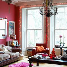 quirky pink living room