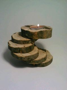 Oak log tealight candle holder