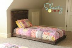 Girls' beds. How to build a platform bed for $30. Inspired by Pottery Barn Kids Fillmore Platform Bed.