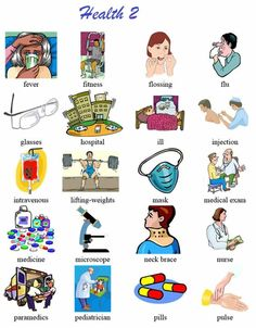 Another vocabulary list of health terms with pictoral support. Good for newcomers and low English proficiency ELLs. English For Beginners, English Tips, English Class, English Words, English Lessons, English Grammar, Learn English, Vocabulary List, Grammar And Vocabulary
