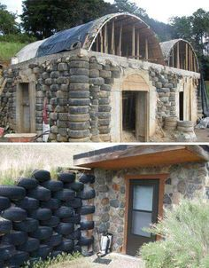 Surprising Reclaimed & Recycled Building Materials Tires for a fence or wall, good idea.Tires for a fence or wall, good idea. Natural Building, Green Building, Building A House, Building Building, Earth Bag Homes, Recycled House, Recycled Tires, Earthship Home, Casas Containers