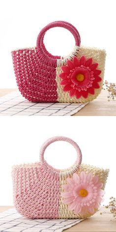 Women's Pink Straw Weaved Summer Handbag