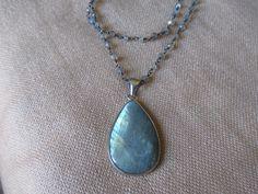 Sterling Silver Labradorite on labradorite chain....stunnning!