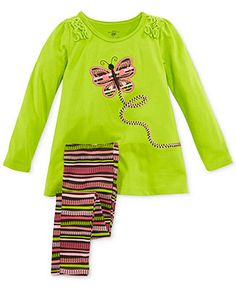 Butterfly Tunic and Striped Leggings