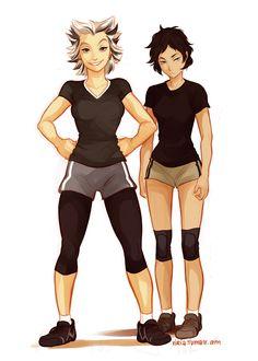 Genderbend Bokuto and Akaashi