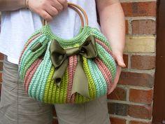 Crochet green fat bag by flowersbyirene, via Flickr