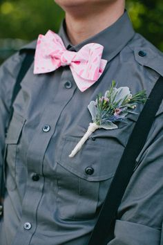 thistle boutonniere and pink bow tie #wedding #timelesstreasure.theaspenshops.com/boutonniere.html
