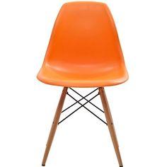 Molded Shell Wooden Eiffel Dowell legs Dining chair Red,White,Black,Green,Orange | eBay