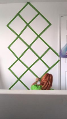 Diy Wall Painting, Tape Painting, Diy Wall Art, Diy Wall Decor, Frog Tape Wall, Tape Wall Art, Wall Murals Bedroom, Accent Wall Bedroom, Geometric Wall Paint