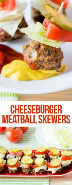 Cheeseburger Meatball Skewers - A great appetizer for any holiday party!