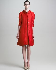 Ruched-Sleeve Gazar Coat & Short-Sleeve Dress by Armani Collezioni at Neiman Marcus. $2,325 .. Mar 2013