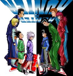 Leorio, Kurapika, Gon, Killua, Hiei, Yusuke, Kurama, and Kuwabara    (cross-over)    ~Hunter X Hunter  Yu Yu Hakusho