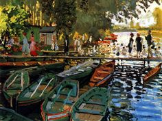 """Monet, Bathing at La Grenouillere, 1869. When asked by a fellow artist if he could borrow his tube of black paint, Monet replied, """"I don't have a tube of black paint""""."""