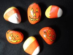 Halloween Magnets Painted Stones Home Decor Pumpkin and Candy Corn Magnets for Home, School or Office on Etsy