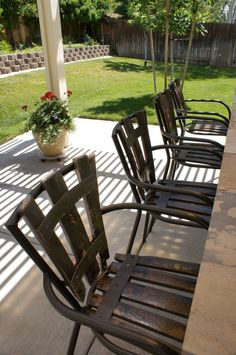 Sun and weather take a toll on outdoor furniture. I had four outdoor bar stools covered with plastic resin wicker that had cracked and split. I priced new outdoor.