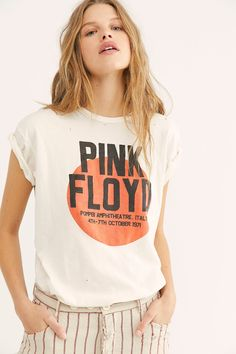 Pink Floyd Boy Tee by Retro Brand at Free People, White, S Band T Shirts, Mom Shirts, T Shirts For Women, Band Tees, Pink Floyd Shirt, Grunge Style, Grunge Outfits, Tomboy Outfits, Emo Outfits