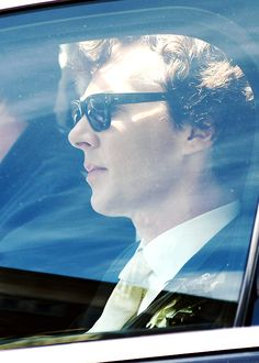 Side View of Ben As Sherlock Sitting In Car In Tuxedo With White Shirt and Yellow Tie Wearing Boutonnière and Sunglasses Benedict Cumberbatch Sherlock, Sherlock Holmes, The Sign Of Three, The Empty Hearse, Amanda Abbington, Poor Unfortunate Souls, Tuxedo For Men, Johnlock, Baker Street