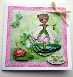 Water Lilly Fairy on Craftsuprint designed by Bodil Lundahl - made by Ulla Skraedderdal - After I printed the sheet on a good quality of paper, I cut out the elements. Layered with 3D pads and finish this card with a bow and the danish text. - Now available for download!