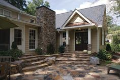 room additions that seamlessly fit with the rest of your home, plus beautiful stone work and landscaping -- by Harbour Towne Construction, Inc. Mobile Home Living, Home And Living, Living Room, Front Porch Addition, Home Addition Plans, Family Room Addition, Amy, Room Additions, House Front
