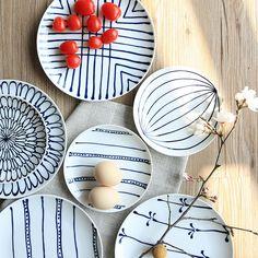 Stile del giappone di ceramica dipinto a mano piatto piatto bistecca rotonda bone china piatti e piatti di porcellana porcellana sushi coltelleria di alta qualità 6 pollice