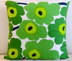 Floral Marimekko Pillow Cover. Handmade. Pattern: Unikko by Maija Isola. Green pillow, 18x18 inches (45x45cm)