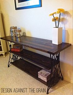 Repurposed console table made of antique cast iron Sewing machine foot . Repurposed console table made of antique cast iron sewing machine foot … ir Refurbished Furniture, Repurposed Furniture, Furniture Makeover, Painted Furniture, Antique Furniture, Rustic Furniture, Antique Console Table, Timber Furniture, Modular Furniture