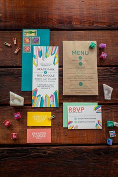 Colorful paper suite inspired by crystals | Photo by Okrfoto | Design by Fox & Hound Paperie