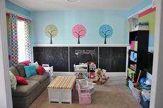 Playroom - Love the chalkboard wall Want one to be a magnetic board too!