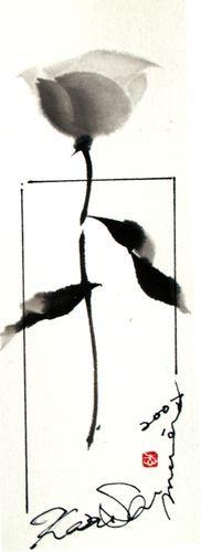 SUMI-E ------------------------------------- Una rueda de color de rosa Luz solar: pop japonesa Sumi-e Imágenes: Imágenes de la pintura de tinta / pintura de tinta