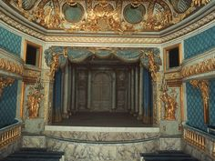 Marie Antoinette's Theatre on the grounds of Versailles at the Petit Trianon. Almost everything is made of painted cardboard even the curtains, Some of the best trompe l'oeil there is.