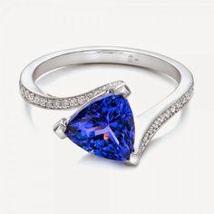 Trillion Tanzanite Engagement Ring