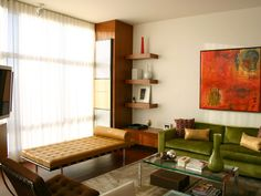 Colorful Mid-Century Modern Living Room With Green Velvet Sofa Mid Century Modern Living Room, Mid Century Modern Design, Mid Century Modern Furniture, Living Room Modern, Colourful Living Room, Eclectic Living Room, Living Room Decor, Living Rooms, Eclectic Decor